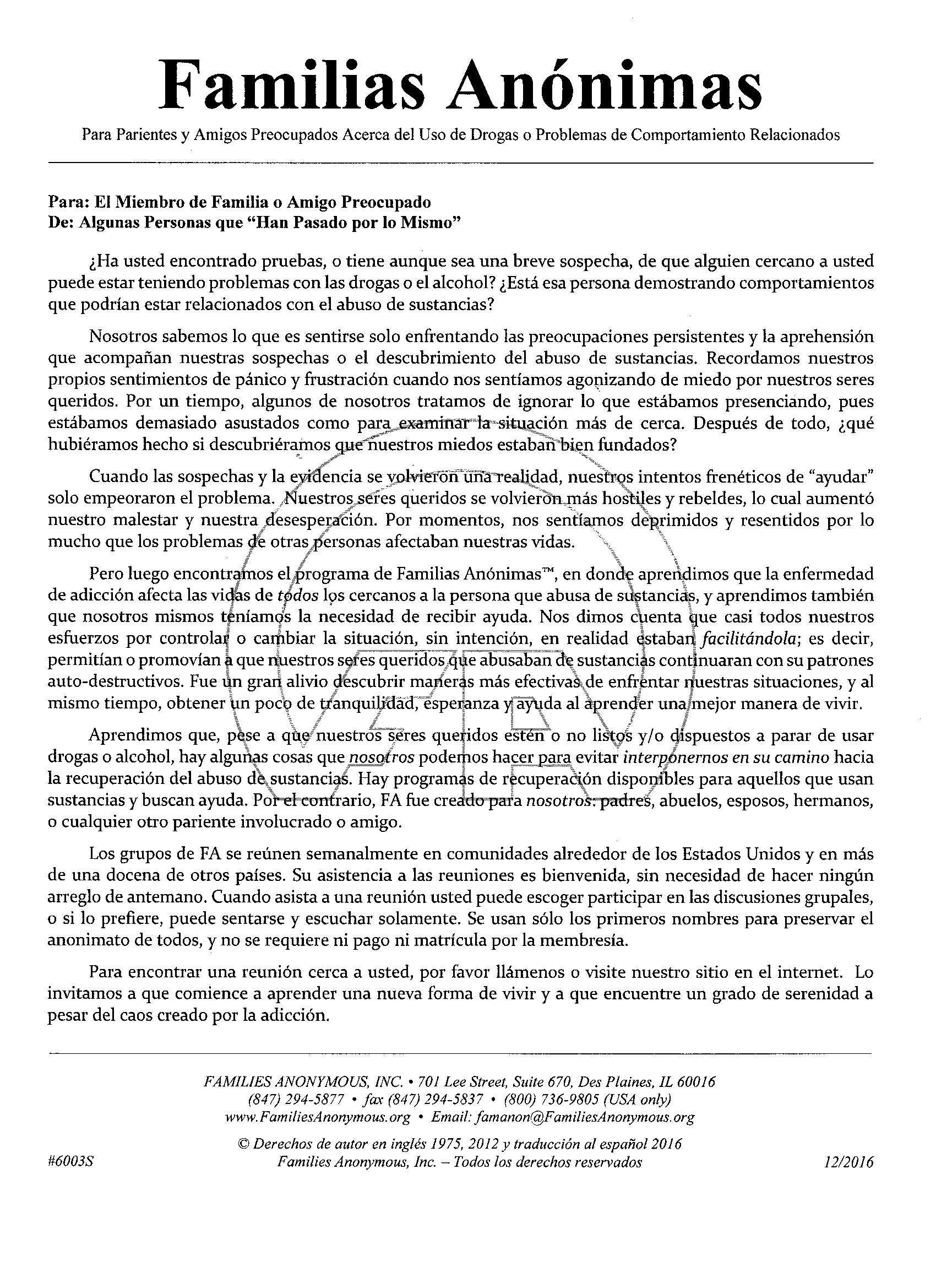#6003S Carta para el miembro de familia o amigo preocupado